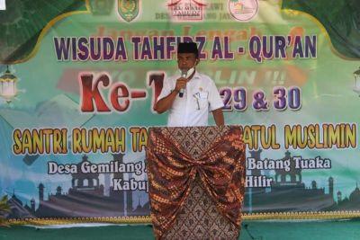 Sekdis PMD Inhil Hadiri Wisuda 34 Santriwan dan Santriwati Rumah Tahfidz Raudhatul Muslimin